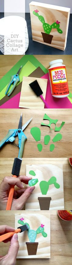 Paper Cactus on Wood (Easy Home Decor!) - Easter Recipes DIY Paper Cactus on Wood (Easy Home Decor!) - Easter Recipes -DIY Paper Cactus on Wood (Easy Home Decor! Decoration Cactus, Cactus Craft, Diy And Crafts, Crafts For Kids, Arts And Crafts, Paper Crafts, Teen Crafts, Papier Diy, Crochet Cactus