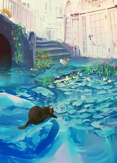 Image discovered by hana khue. Find images and videos about art, anime and cat on We Heart It - the app to get lost in what you love. Art Inspo, Inspiration Art, Art And Illustration, Illustrations, Fantasy Artwork, Anime Pokemon, Fantasy Anime, Anime Scenery, Aesthetic Art