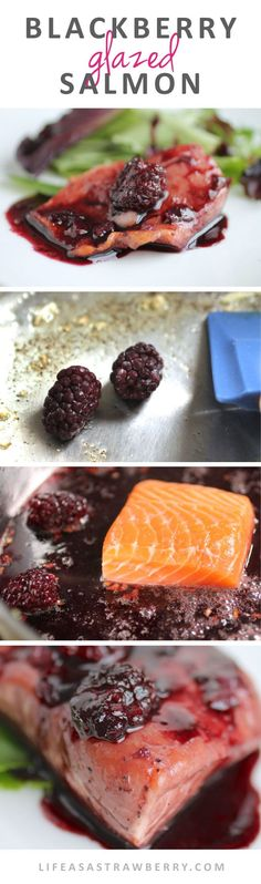 Blackberry Glazed Salmon This easy salmon recipe is ready in no time - perfect seafood recipe for busy weeknights! Salmon Dishes, Fish Dishes, Seafood Dishes, Fish And Seafood, Easy Salmon Recipes, Fish Recipes, Seafood Recipes, Cooking Recipes, Halibut Recipes