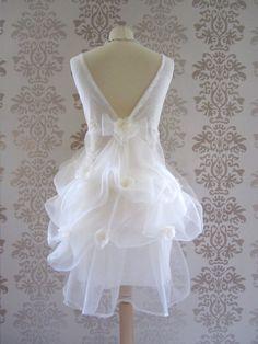 Wedding Gown Wedding Dress Reception Dress Alternative Wedding Dress : ANNELLE Light Cream Lace  Short Dress Size  L/XL. $199.00, via Etsy.
