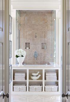 Open shelves around shower base; Susan Latta