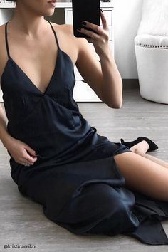 Forever 21 Contemporary - A satin maxi dress featuring a V-neckline, cami straps that crisscross in the back, a front princess-seam slit, and an invisible back zipper.