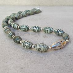 Green Striated Zebra Stone Beads & Sterling Silver Necklace (42) £46.00