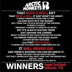 Arctic Monkey's acceptance speech by Alex Turner at the Brit Awards for Best British Album 2014