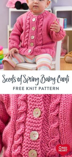 Seeds of Spring Baby Cardi free knit pattern in Red Heart Soft Baby Steps yarn. - Seeds of Spring Baby Cardi free knit pattern in Red Heart Soft Baby Steps yarn. A pretty twisted ca - Crochet Baby Cardigan Free Pattern, Free Baby Sweater Knitting Patterns, Knit Patterns, Free Childrens Knitting Patterns, Knitting Baby Girl, Knitted Baby Cardigan, Knit Baby Sweaters, Strawberry Color, Baby Steps