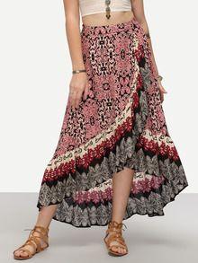 Multicolor Wrap Floral Print High Low Skirt