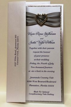 Silver Glitter Ribbon Heart Rhinestone Invitation Suite by Fort Lauderdale Invitations - Visit our website for ordering information or search for us on Etsy @ Milgrim Designs! Fort Lauderdale * Hollywood * Miami * Palm Beaches * We Ship across the USA!