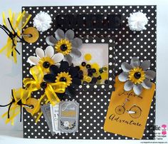 Trendy Twine - Memory Keeping A Mini Album using Totally Black, Totally White & Totally Lemon Trendy Twine along with the Bumblebee Sequins from Annie's Paper Boutique.