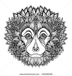 Psychedelic monkey head tattoo. zentangle style. vector illustration on white