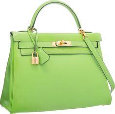 Hermes 32cm Vert Cru Gulliver Leather Retourne Kelly Bag with Gold Hardware