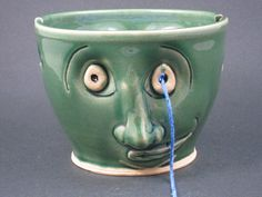 Green Two Face Ceramic Yarn Bowl. $50.00, via Etsy.