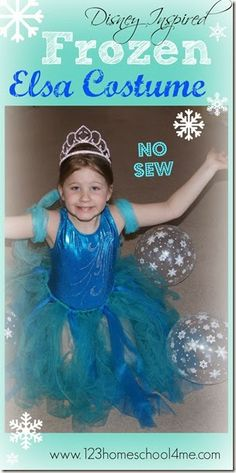 Disney Frozen Elsa Costume for Kids! This NO SEW costume is easy to make, affordable, and priceless to your princess!