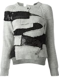 Shop Junya Watanabe Comme Des Garçons asymmetric patchwork cardigan in RESTIR from the world's best independent boutiques at . Over 1000 designers from 60 boutiques in one website. Old Sweater, Junya Watanabe, Mode Editorials, Winter Mode, Knit Fashion, Punk Fashion, Lolita Fashion, Knitting Designs, Japanese Fashion