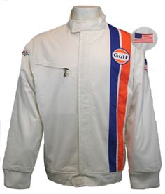 Buy our vintage style cotton Gulf racing jacket for an excellent price! Elevate your racing style to the level of Steve McQueen with our Gulf jacket. Racing Stripes, Steve Mcqueen, Striped Jacket, Vintage Racing, Le Mans, Laptop Sleeves, Race Cars, Motorcycle Jacket, Mens Fashion