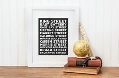 Charleston Subway Art Print. If you love your city, or Charleston, South Carolina has special memories to you while you live apart, this is the print for you. Featuring many iconic streets from Charleston, from Market Street, to the Battery, this print is perfect for the present or former resident of Charleston.  Includes (1) High Resolution JPEG files sized to scale up/down from 8 x 10 dimensions . ……………………………………………………………………… This is a Digital Download File Only (You will not receive a ...
