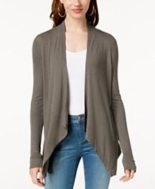 A cascade collar and open front updates this easy cardigan by Inc International Concepts. Layer it with a tee and jeans to complete the look. Drape Cardigan, Open Front Cardigan, Plus Size Designers, Plus Size Shopping, Trendy Plus Size, Cardigans For Women, Petite Sizes, Capsule Wardrobe, Latest Trends