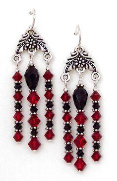 Red & Black Swarovski Crystal Chandelier Earrings