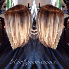 Dramatic blonde ombré on a long Aline. Perfect summer hair. Instagram: hairbymarissamae