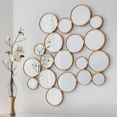 We love the Camilla Gold Circles Mirror 😍 Designed with 19 circles adjoining to create its structure, this stylish mirror is unique and perfect for any wall in your home. Mirror Gallery Wall, Small Wall Mirrors, Black Wall Mirror, Mirror Collage, Rustic Wall Mirrors, Round Wall Mirror, Mirror Walls, Entry Mirror, Window Mirror