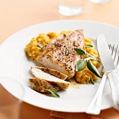 Cinnamon Roasted Chicken with Pumpkin-Sage Grits. I might have to try this...???