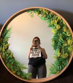 Moss Wall Art, Moss Art, Cute Diy Room Decor, Green Wall Decor, Flower Mirror, Artificial Plant Wall, Mirror Shapes, Mirror Painting, Diy Mirror