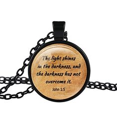 * Penny Deals * - FM42 Black-tone John 1:5 Christian The Bible Religious Inspirational Quote Pendant Necklace TN2815 * Learn more by visiting the image link.