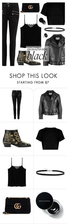 Mission Monochrome: All-Black Outfit by dora04 on Polyvore featuring MANGO, Acne Studios, Paige Denim, Chloé, Gucci, Andrea Fohrman, BillyTheTree, casual, CasualChic and blackbooties