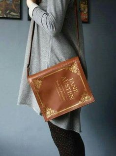 WANT!!! Leather Book Bag Brown Leather Book Purse - krukrustudio - etsy #janeausten