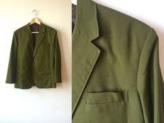 1960s Olive Green Cotton Blazer Mens 38 Handsewn by flickaochpojke