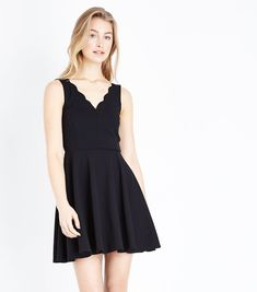 Shop Black Scallop V Neck Sleeveless Skater Dress. Discover the latest trends at New Look. Skater Dress, Dress Up, Occasion Wear, New Look, Latest Trends, V Neck, How To Wear, Shopping, Clothes