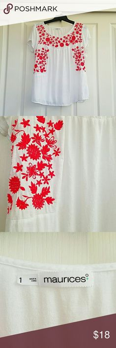 Embroidered top Red and white embroidered top Lightweight material Maurices Tops Blouses