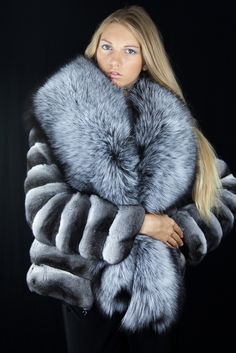 **FX** fur fourrure chinchilla & silver fox fur jacket