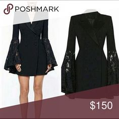 BLACK ELEGANCE 👌🏻 Black Jacket Dress with lace bell sleeves Dresses Mini Bell Sleeve Dress, Bell Sleeves, Black Dress Jacket, Fashion Tips, Fashion Design, Fashion Trends, Blazer, Elegant, Mini