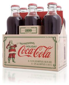 Retro vintage Coke a Cola. Love the bottle shape and notice the blade cuts on the green borders to give it a distressed block press look. Coca Cola Santa, Coca Cola Christmas, Coca Cola Ad, Always Coca Cola, Coca Cola Bottles, Soda Bottles, Coca Cola Vintage, Vintage Packaging, Packaging Design