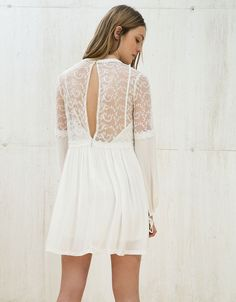 Tulle and muslin embroidered dress - Party looks - Bershka Turkey