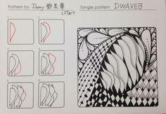 這是美華(damy)投稿的第三十七個圖樣 Tangle pattern---DWAVEB D波 Pattern by ------ DAMY TENG CZT#17 這個圖樣靈感