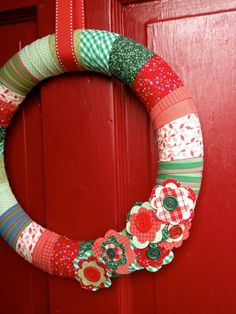 """simple """"country"""" wreath with good tutorial with great pictures.  Can use your left over Christmas fabric"""
