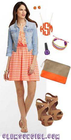 Clemson Girl Gameday Look - Bright Stripes
