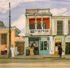 Houses in Greek painting - Yiannis Tsarouchis-NJH Studio