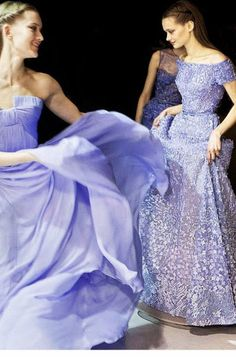 Beautiful gowns backstage at Elie Saab Haute Couture Spring/Summer Style Couture, Couture Fashion, Runway Fashion, Mode Purple, Elie Saab Haute Couture, Color Lavanda, Bridesmaid Dresses, Prom Dresses, Bridesmaids