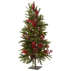 @Overstock - 36-inch Pine and Berry Christmas Tree - Bring the holiday spirit to any room with this Christmas tree. With its pine branches, faux pine cones and realistic berries, this Christmas tree never needs watering and brings a burst of color, making this an excellent holiday decoration.  http://www.overstock.com/Home-Garden/36-inch-Pine-and-Berry-Christmas-Tree/8368668/product.html?CID=214117 $115.99