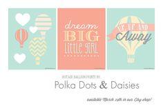 Hot Air Balloon Art Prints from Polka Dots and Daisies. Adorable!