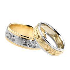 Obrączki ślubne z białego i żółtego złota z ręcznie cyzelowanym wzorem. Próba 0,585