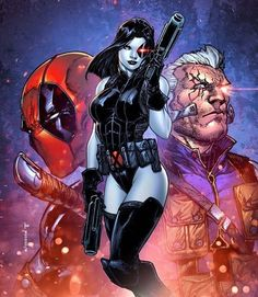 Domino, Deadpool, Cable - X-Force Marvel Dc Comics, Domino Comics, Domino Marvel, Hq Marvel, Marvel Comic Universe, Marvel Heroes, Cable Marvel, Domino Superhero, Cable Xmen