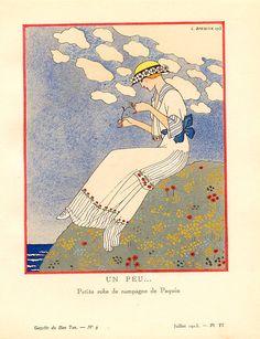 Jeanne Paquin, in La Gazette du Bon Ton, No. 9, Un Peu... - Country Dress, 1913, illustration by George Barbier