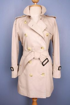 Womens BURBERRY Bespoke Short TRENCH Coat Mac Beige 10/12