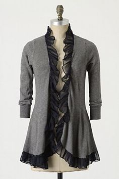 Long sleeve t-shirt = ruffle-edge cardigan