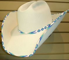 Beautiful Custom Bone (with beading) Western Cowboy Hat from Shorty's Hattery