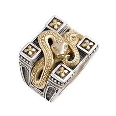 See this and similar Konstantino men's rings - A gleaming, 18-karat gold serpent…