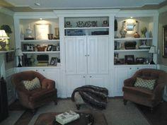 Family room built ins, TV hideaway
